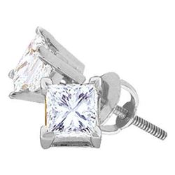 Womens Princess Diamond Solitaire Stud Earrings 5/8 Cttw 14kt White Gold - REF-60H9R