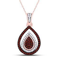 Womens Round Red Color Enhanced Diamond Teardrop Cluster Pendant 1/4 Cttw 10kt Rose Gold - REF-19R9X