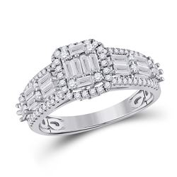 Womens Baguette Diamond Square Fashion Ring 1 Cttw 14kt White Gold - REF-93X9A