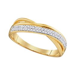 Womens Round Diamond Crossover Band Ring 1/6 Cttw 10kt Yellow Gold - REF-15K5Y