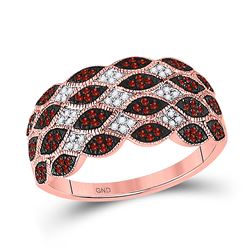 Womens Round Red Color Enhanced Diamond Band Ring 1/3 Cttw 10kt Rose Gold - REF-32Y5N