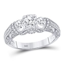 Round Diamond 3-stone Bridal Wedding Engagement Ring 1-1/2 Cttw 14kt White Gold - REF-177X5A