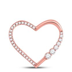 Womens Round Diamond Outline Heart Pendant 1/4 Cttw 10kt Rose Gold - REF-19A5M
