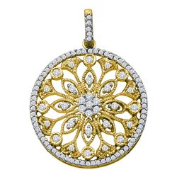 Womens Round Diamond Antique-style Circle Pendant 1/2 Cttw 10kt Yellow Gold - REF-32W5K