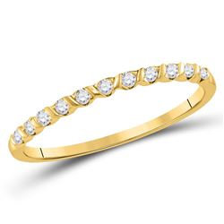 Womens Round Diamond Stackable Band Ring 1/6 Cttw 10kt Yellow Gold - REF-9M5H