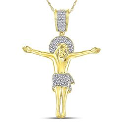 Mens Round Diamond Jesus Crucified Charm Pendant 1/2 Cttw 10kt Yellow Gold - REF-43F5W