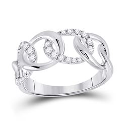 Womens Round Diamond Curb Link Fashion Ring 1/3 Cttw 14kt White Gold - REF-30Y5N