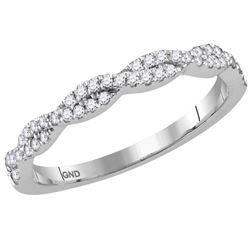 Womens Round Diamond Twist Stackable Band Ring 1/4 Cttw 14kt White Gold - REF-26R9X
