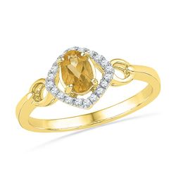 Womens Oval Lab-Created Citrine Solitaire Diamond Ring 1/2 Cttw 10kt Yellow Gold - REF-14M5H