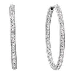 Womens Round Diamond Inside Outside Endless Hoop Earrings 1/2 Cttw 14kt White Gold - REF-52M5H