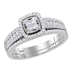 Princess Diamond Halo Bridal Wedding Ring Band Set 1/2 Cttw 14kt White Gold - REF-41F9W