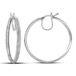 Womens Round Diamond Hoop Earrings 1/4 Cttw 10kt White Gold - REF-32Y5N