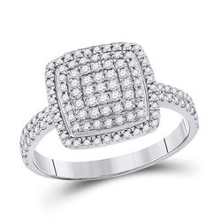 Womens Round Diamond Square Cluster Ring 5/8 Cttw 10kt White Gold - REF-24N5F