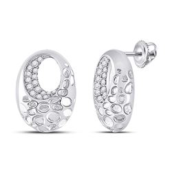Womens Round Diamond Pitted Oval Earrings 1/5 Cttw 14kt White Gold - REF-30N9F