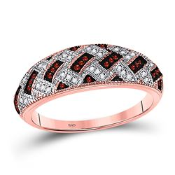 Womens Round Red Color Enhanced Diamond Band Ring 1/6 Cttw 10kt Rose Gold - REF-19A5M