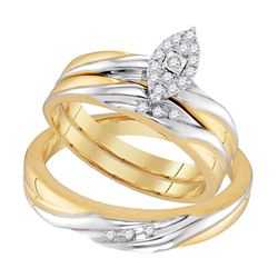 His Hers Round Diamond Solitaire Matching Wedding Set 1/5 Cttw 10kt Yellow Gold - REF-24W5K