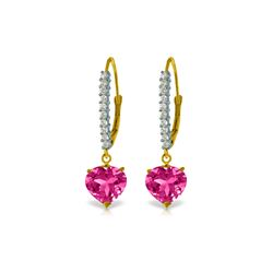Genuine 3.55 ctw Pink Topaz & Diamond Earrings 14KT Yellow Gold - REF-63R3P