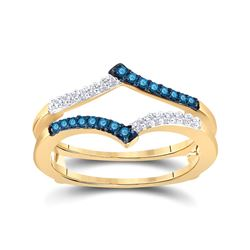 Womens Round Blue Color Enhanced Diamond Enhancer Wedding Band 1/5 Cttw 10kt Yellow Gold - REF-18N9F