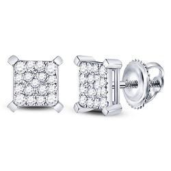 Womens Round Diamond Square Cluster Earrings 1/4 Cttw 10kt White Gold - REF-16M9H
