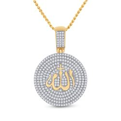 Mens Round Diamond Allah Islam Circle Charm Pendant 2-3/4 Cttw 14kt Yellow Gold - REF-192A9M