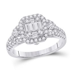 Womens Baguette Diamond Square Cluster Ring 3/4 Cttw 14kt White Gold - REF-76F5W