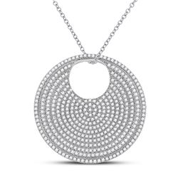 Womens Round Diamond Circle Pendant 2-3/4 Cttw 14kt White Gold - REF-258N9F