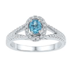 Womens Oval Lab-Created Blue Topaz Solitaire Ring 5/8 Cttw Size 10 10kt White Gold - REF-18M5H