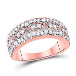 Womens Round Diamond Fashion Twist Band Ring 5/8 Cttw 14kt Rose Gold - REF-65R5X