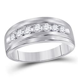 Mens Round Diamond Wedding Single Row Band Ring 1/2 Cttw 14kt White Gold - REF-43Y5N