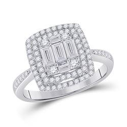 Womens Baguette Diamond Square Ring 7/8 Cttw 14kt White Gold - REF-93N9F