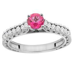 0.86 CTW Pink Topaz & Diamond Ring 14K White Gold - REF-62N4Y