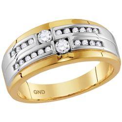 Mens Round Diamond 2-stone Wedding Ring 1/2 Cttw 10kt Two-tone Gold - REF-52M9H