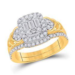 Baguette Diamond Bridal Wedding Ring Band Set 3/4 Cttw 14kt Yellow Gold - REF-74K9Y