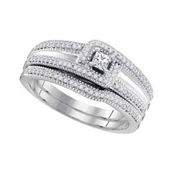 Princess Diamond Bridal Wedding Ring Band Set 1/3 Cttw 10k White Gold - REF-43M5H