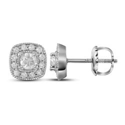 Womens Round Diamond Solitaire Square Frame Earrings 3/8 Cttw 14kt White Gold - REF-35Y5N
