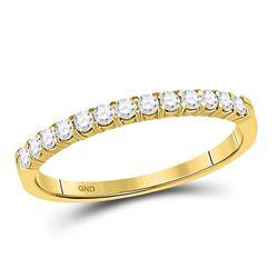 Womens Round Diamond Single Row Comfort Wedding Band 1/4 Cttw 14kt Yellow Gold - REF-20K5Y