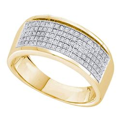 Womens Round Diamond Pave Band Ring 1/3 Cttw 10kt Yellow Gold - REF-19M9H