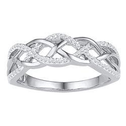 Womens Round Diamond Braided Band Ring 1/5 Cttw 10kt White Gold - REF-14W9K