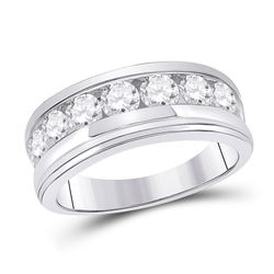 Mens Round Diamond Single Row Band Ring 2 Cttw 14kt White Gold - REF-208W5K