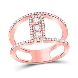 Womens Round Diamond Fashion 3-stone Ring 3/8 Cttw 10kt Rose Gold - REF-34H5R
