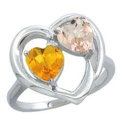 1.91 CTW Diamond, Citrine & Morganite Ring 10K White Gold - REF-26M5K