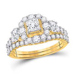 Princess Diamond Bridal Wedding Ring Band Set 2 Cttw 14kt Yellow Gold - REF-178A5M