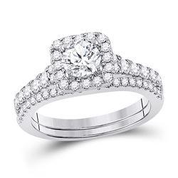 Round Diamond Bridal Wedding Ring Band Set 1-1/3 Cttw 14kt White Gold - REF-197K5Y