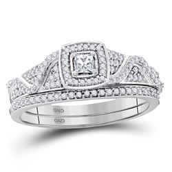 Princess Diamond Bridal Wedding Ring Band Set 3/8 Cttw 10kt White Gold - REF-38A9M