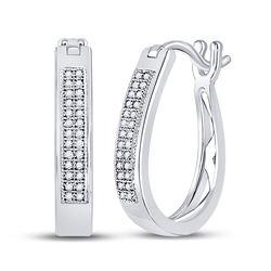 Womens Round Diamond Hoop Earrings 1/6 Cttw 10kt White Gold - REF-16R9X