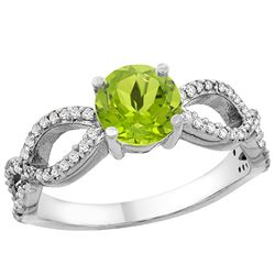 1 CTW Peridot & Diamond Ring 10K White Gold - REF-49Y6V