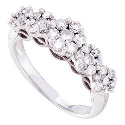 Womens Round Diamond Five Flower Cluster Ring 1 Cttw 14kt White Gold - REF-78W5K