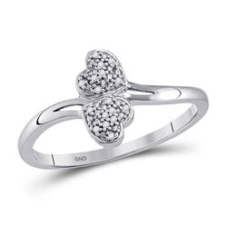Womens Round Diamond Double Heart Ring 1/20 Cttw 10kt Yellow Gold - REF-6W5K