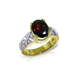 Genuine 3.2 ctw Garnet & Diamond Ring 14KT Yellow Gold - REF-114K3V