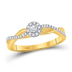 Womens Round Diamond Solitaire Promise Ring 1/5 Cttw 10kt Two-tone Gold - REF-15M9H